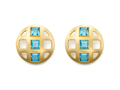 London Blue Topaz Lattice Earrings in 18kt Gold