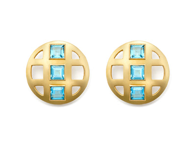 Sky Blue Topaz Lattice Earrings in 18kt Gold