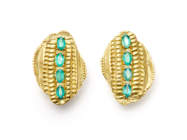 Vertebrae Earrings with Paraiba Tourmalines in 18kt Gold