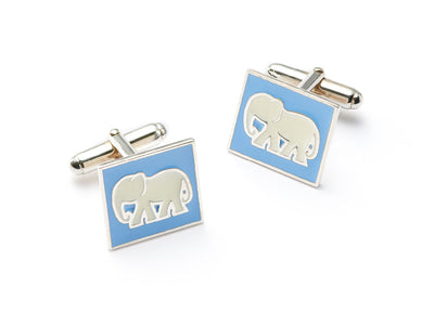 White Elephant Cufflinks in Sterling Silver
