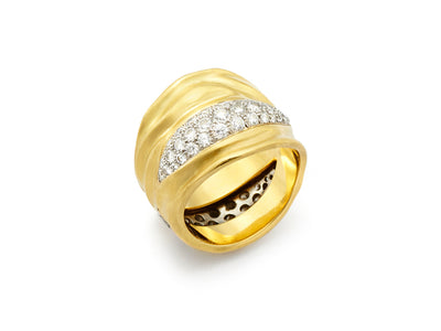 18kt Gold Burst Ring with Diamonds