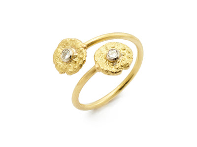 "18kt Gold ""Seaquin"" Bypass Ring with Diamonds"