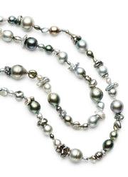 Black Tahitian and Keshi Pearl Strand
