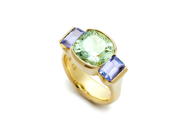 Cushion Cut Green Beryl with Emerald Cut Tanzanites set in 18kt Gold