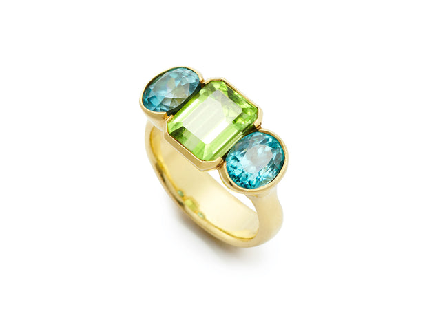 Fine Blue Zircon with Peridot Ring set in 18kt Gold
