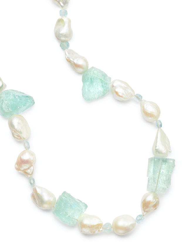 Freshwater Baroque Pearls with Mirror Cut Aquamarine and 18kt Gold Rondelles