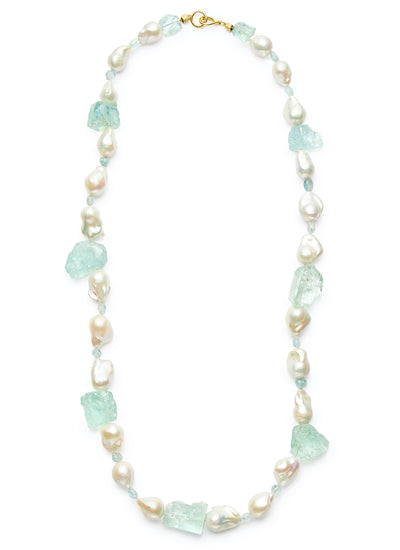 32-inch Freshwater Baroque Pearls with Mirror Cut Aquamarine and 18kt Gold Rondelles