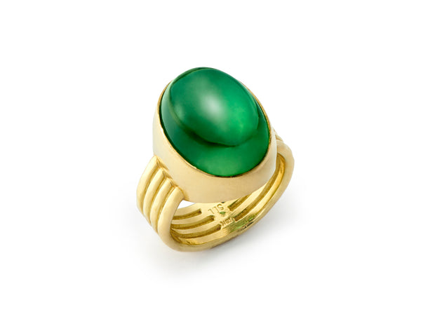 Green Tourmaline Four Band Ring set in hammered 18kt Gold