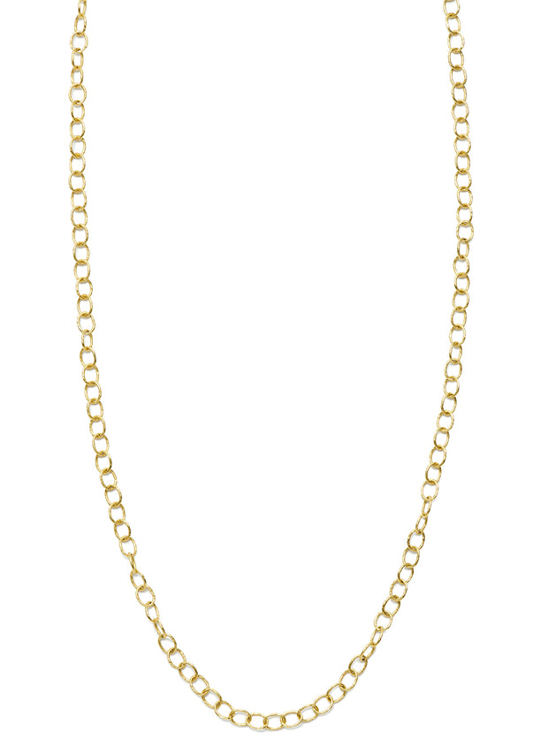 Hand Hammered Link Chain in 18kt Gold