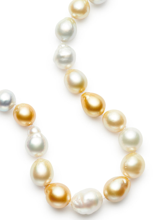 19-inch Large Natural Golden and White South Sea Baroque Pearls with 18kt Gold and Diamond Rondelles