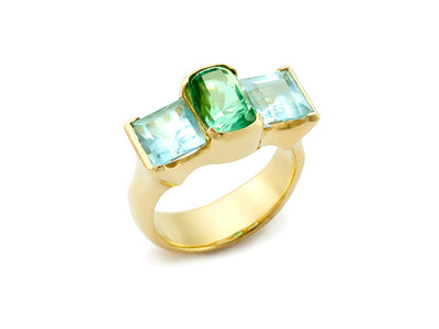 Mint Tourmaline with Aquamarines set in 18kt Gold
