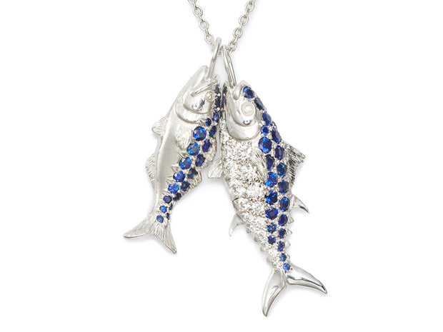 Nantucket Bluefish Sapphire and 18kt White Gold Pendant