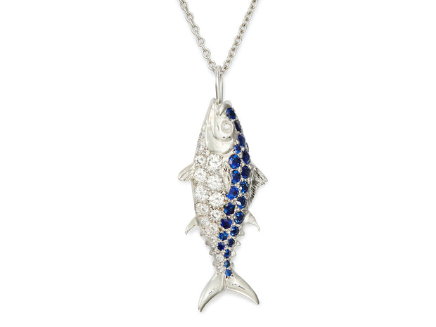 Nantucket Tuna Fish 18kt White Gold Pendant with Diamonds and Sapphires