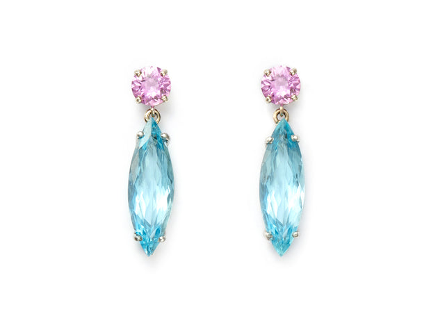 Pink Sapphire and Aquamarine Dangle Earrings