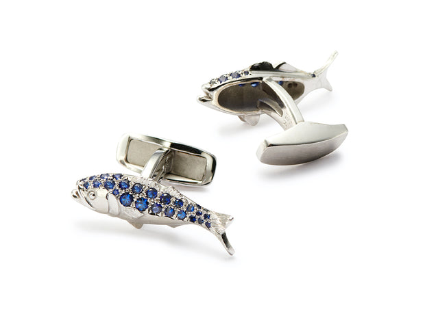 Sapphire Bluefish Cufflinks in 18kt White Gold