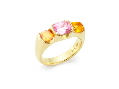 Summer Delight Ring Pink Sapphire with Spessartite Garnets in 18kt Gold