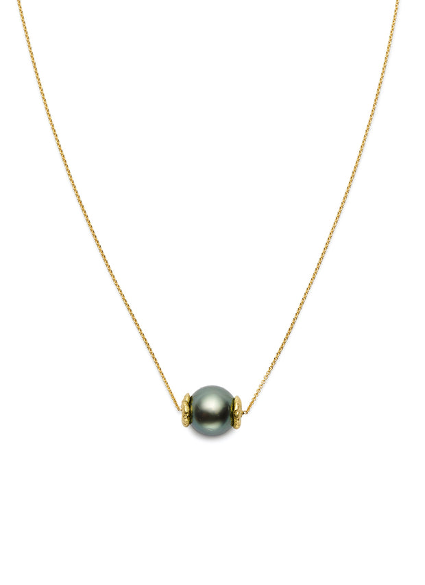 Tahitian Black Pearl and 18kt Gold Seaquin Necklace