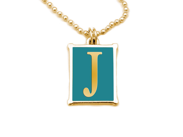 The Alphabet Collection™ 14kt Yellow Gold Charm - Tuckernuck Turquoise