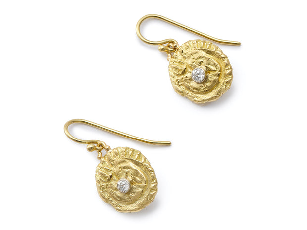 """Sea Star"" and Diamond 18kt Gold Dangle Earrings"