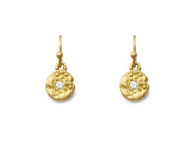 """Seaquin"" and Diamond 18kt Gold Dangle Earrings"