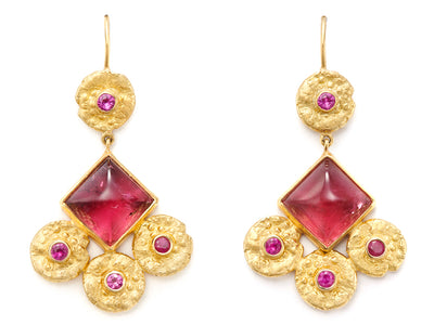 18kt Gold Antique Dangle Earrings with Rubellite and Pink Sapphires