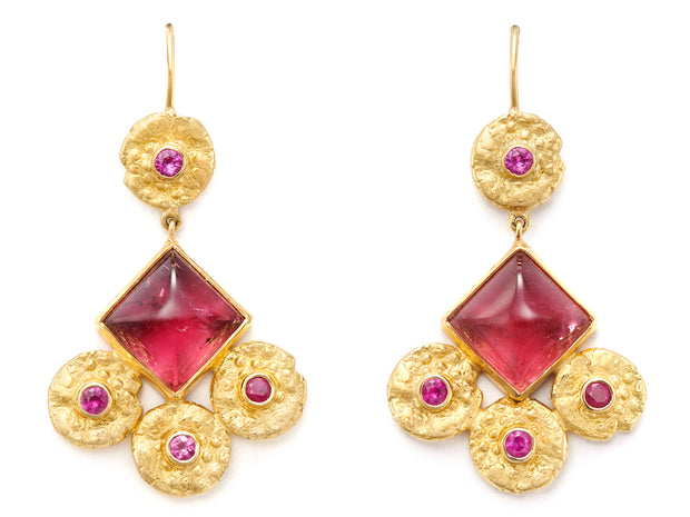 18kt Gold Bo Chic Dangle Earrings with Rubellite and Pink Sapphires