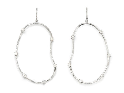 Oyster Earrings with Diamonds - 18kt White Gold