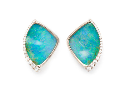Boulder Opal and Diamond Clip-On Earrings in 18kt White Gold