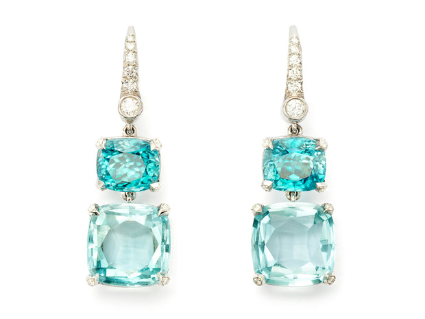 Aquamarine and Zircon Dangle Earrings