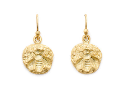 Bee Dangle Earrings in 18kt Gold