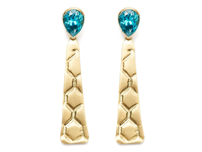 Faceted Blue Zircon and 18kt Gold Beehive Drop Earrings