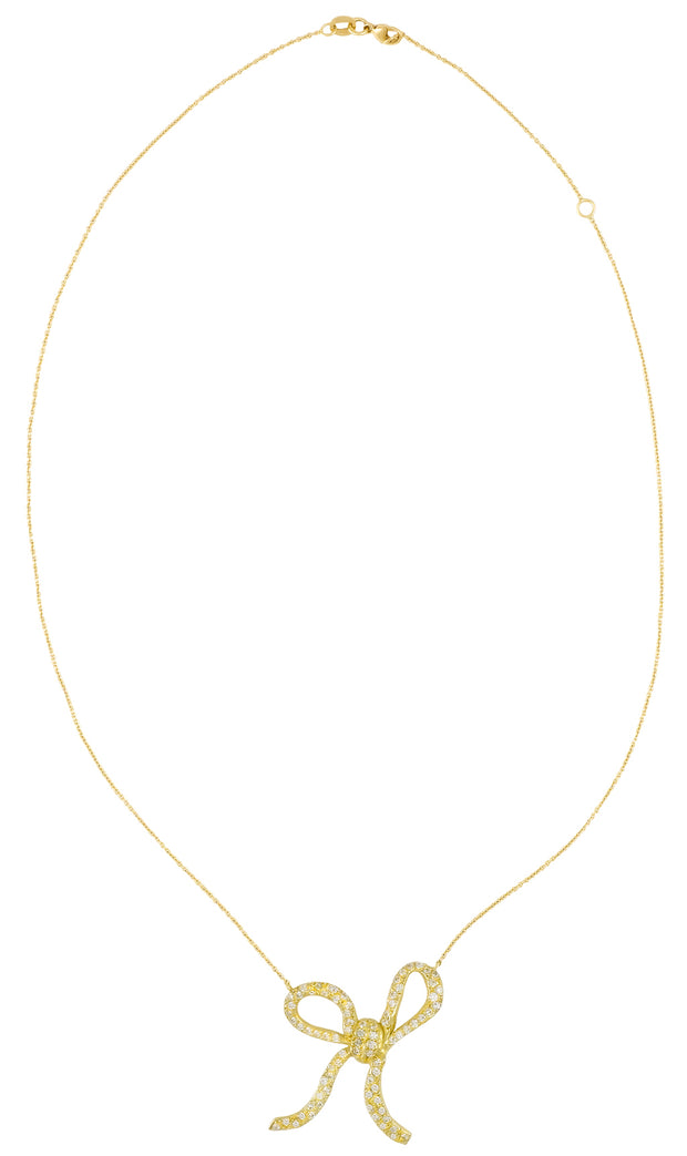 18kt Gold & Diamond Floating Bow Necklace