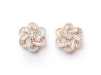 Diamond Flower Earrings in 18kt Rose and White Gold