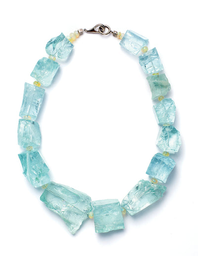 Mirror Cut Aquamarine White Gold Diamond Bead Necklace