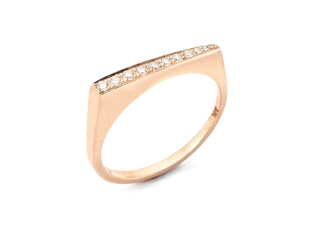 Stax Ring with Diamonds - 18kt Gold