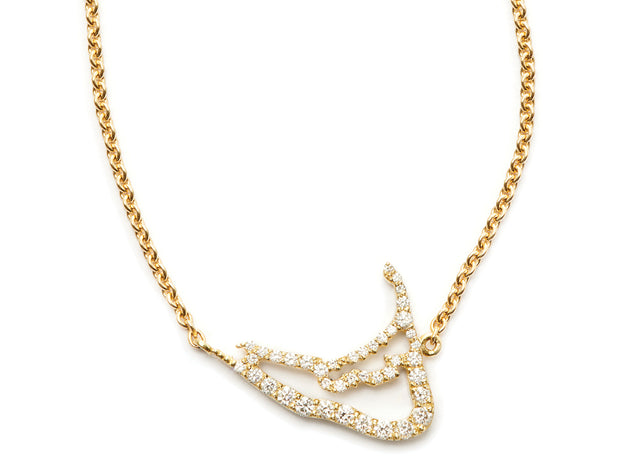 Nantucket Map in Diamonds in 18kt Yellow Gold