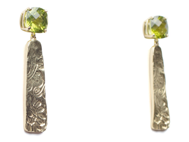 Peridot and 18kt Gold Swirly Drop Earrings