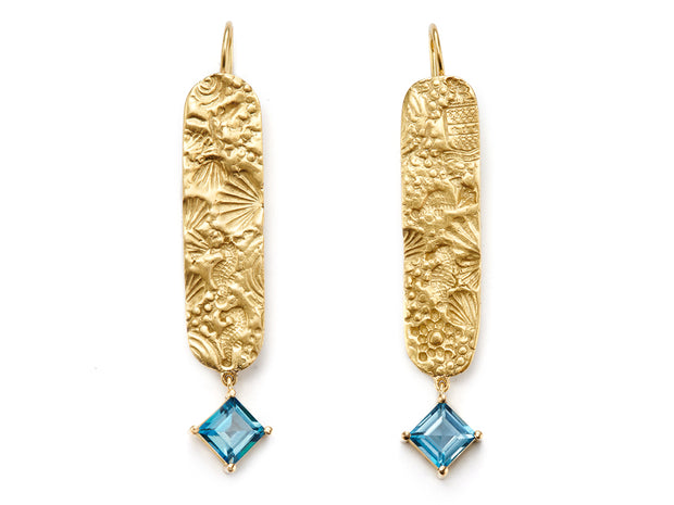 London Blue Topaz and 18kt Gold Seascape Earrings
