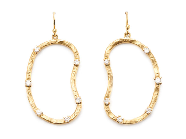 """Fifth Bend"" Oyster Earrings in 18kt Gold set with Diamonds"