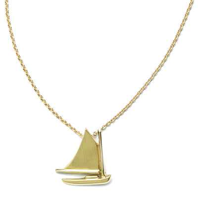 Nantucket Cat Boat Pendant in 18kt Yellow Gold - Small