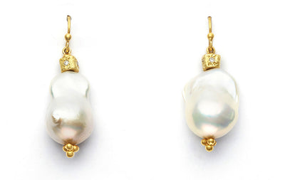 South Sea Baroque Pearls and 18kt Yellow Gold Bead set with Diamonds
