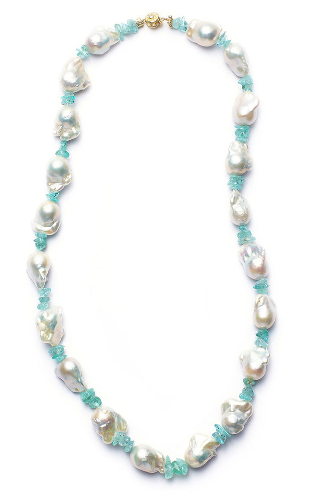 South Sea Baroque Pearls with 102.3ct Paraiba Tourmaline with 18kt Gold Clasp