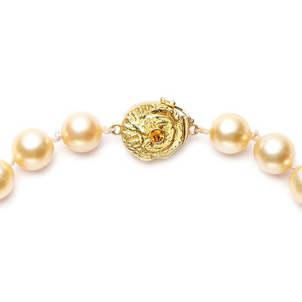 South Sea Natural Golden Pearls with 18kt Gold and Orange Sapphire Clasp