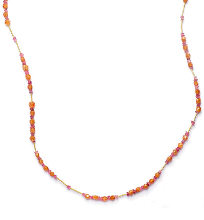 Spessartite, Garnet, Pink Tourmaline, and 18kt Gold Necklace