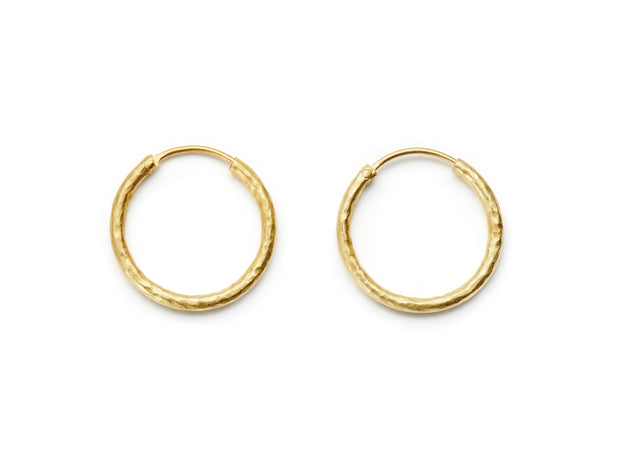 25mm Hand Hammered 20kt Gold Hoop Earrings