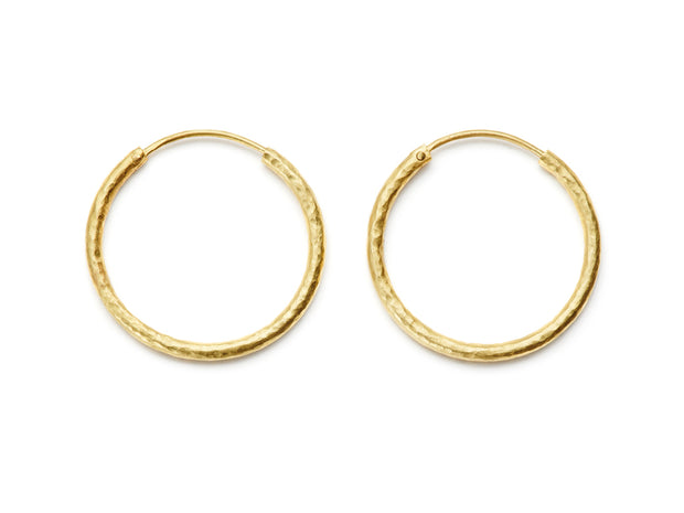 30mm Hand Hammered 20kt Gold Hoop Earrings