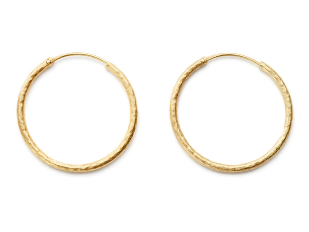 35mm Hand Hammered 20kt Gold Hoop Earrings
