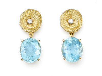 Aquamarine and Star and Sea with Diamond Earrings