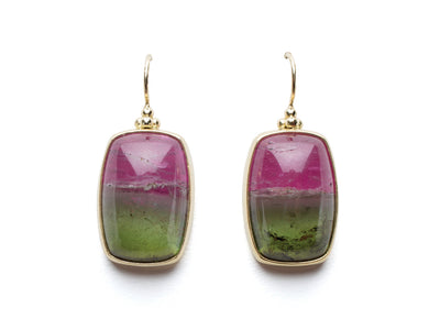 Bi-Color Tourmaline Earrings Set in 18kt Gold