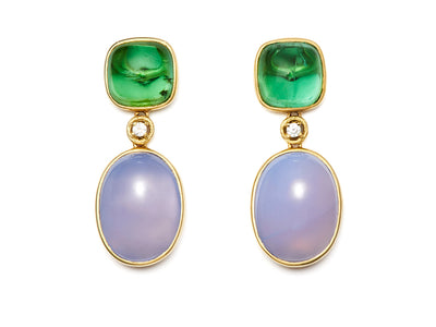 Chalcedony and Green Tourmaline Earrings with Diamonds